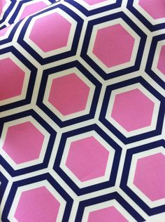 $42 Tatum in Candy- Original Hexagon Vintage Inspired  Home Decor Fabric Yardage Pink and Navy