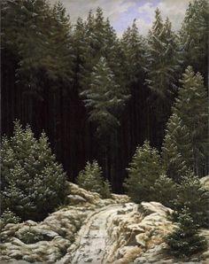 Caspar David Friedrich - Frühschnee / Early snow, 1828. Oil on linen, 43,8 x 34,5 cm.