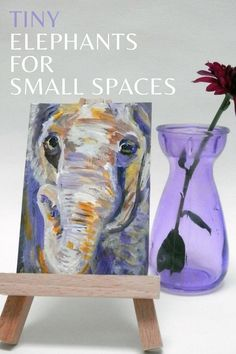 Tiny Elephant artworks for small spaces to add a colourful accent to your shelf or bookcase. Take a look now! Farm Animals, Animals And Pets, Elephant Artwork, Artwork Online, Animal Paintings, Accent Colors, Llama Pictures, Small Spaces, Wildlife