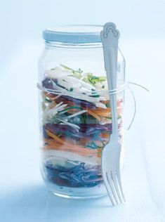 Colourful jar of coleslaw (perfect picnic salad or to-go lunch). Pour dressing in base of sterilized glass jar & top w/ layers of fresh vegetables. Leave 2cm gap b/tw lid & salad, shake jar to toss the dressing once you've arrived at your destination. A serving fork tied to the side of the jar makes for a cute & handy touch.