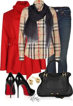 Burberry Shirt, Louboutin shoes and true religion jeans. Nice leather bag and very very chic look! Camisa Burberry, Burberry Shirt, Only Fashion, Red Fashion, Star Fashion, Fashion Outfits, Womens Fashion, Fashion Shoes, Fall Winter Outfits