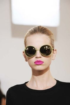 Macy's Beauty Blogger Tonya's Spring Obsession: Pink lips and oversized sunnies.  Too cute!
