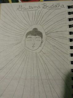 Drawing of Buddha and his halo