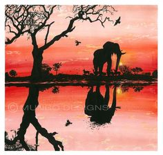 "MUNRO DESIGNS - BOTSWANA SUNSET Watercolour painting of beautiful African wildlife living free and savouring the last of the setting sun across the Botswana landscape. ""The only man I envy is the man who has not yet been to Africa – for he has so much to look forward to."" Richard Mullin WATERCOLOUR ON CARTRIDGE PAPER, 2016"