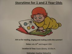 Story Hour is in full swing at the Essex Library.  We offer multiple programs for children, whether you know how to read or are just starting out!  Stop by the Children's Department or visit http://www.essexlib.org/children-story.html for more details.