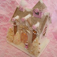 Vintage Style Putz Pink Christmas Glitter House Trees Lighted Shabby Chic Roses  #VintagePutzStyleReproductionVillageHouse
