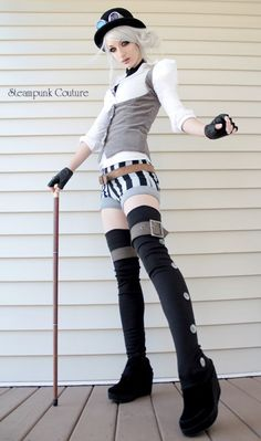 Grey underbust vest and those legging thigh high things are cool, but her legs are as tall as I am!