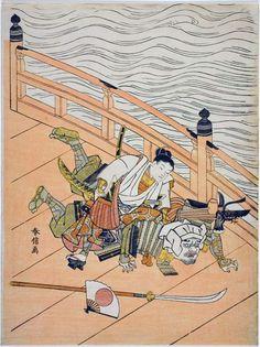 Suzuki Harunobu / Ushiwakamaru und Benkei auf der Gojo Brücke