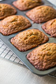 Breakfast Mini Banana Bread Loaves / Cute as a button and perfect for sharing, great for stashing in the freezer. Mini Loaf Banana Bread Recipe, Mini Bread Loaves, Mini Loaf Pan, Best Bread Recipe, Mini Banana Muffins, Loaf Recipes, Quick Bread Recipes, Banana Bread Recipes, Cooking Recipes