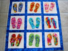 flip flop quilt pattern free | The photo doesn't do justice to the cuteness of Susan's Flip Flops! Mug Rug Patterns, Quilt Patterns Free, Flip Flop Craft, Beach Quilt, Red And White Quilts, Place Mats Quilted, Patchwork, Hawaiian Quilt Patterns, Hawaiian Quilts