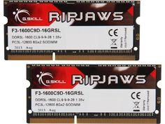 G.SKILL Ripjaws Series 16GB (2 x 8G) 204-Pin DDR3 SO-DIMM DDR3L 1600 (PC3L 12800) Laptop Memory Model F3-1600C9D-16GRSL
