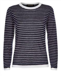 Jaeger Linen Striped Sweater
