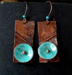 Fold formed copper with torch fired enamel earrings
