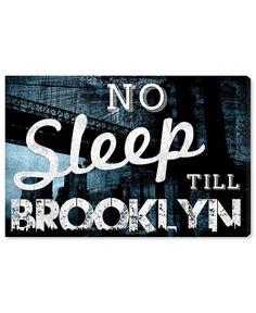 "Oliver Gal Artist Co. ""No Sleep Till Brooklyn"" Canvas Art Oliver Gal, Art Prints Quotes, Wall Quotes, No Sleep Till Brooklyn, Baby Room Lighting, Canvas Wall Art, Canvas Prints, Skyline Art, Stocking Holders"