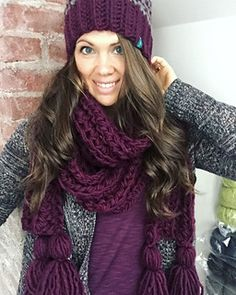 PDF crochet pattern for bulky and quick family toques and tasseled scarf