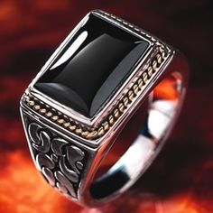 Stauer Mens Black Onyx Mako Ring