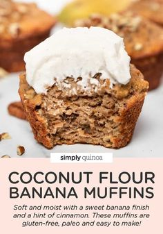 These are the BEST Banana Muffins ever! This easy, healthy recipe is made with coconut flour and coconut sugar. This homemade, from-scratch recipe is also paleo, grain-free and gluten-free. So moist and delicious! Coconut Flour Muffins, Baking With Coconut Flour, Coconut Flour Recipes, Baking Recipes, Coconut Sugar, Banana Coconut, Healthy Baking, Healthy Desserts, Best Banana Muffins Ever