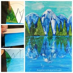 Try this step by step paint and fold print reflection landscape. Winter mountain lake painting. A great art project for kids or adults. Arts and crafts.