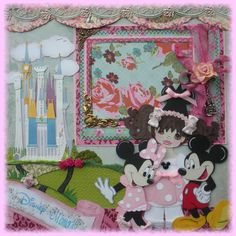 Premade Scrapbook Pages Paper Piecing Tear Bear DISNEY Mickey & Minnie Mouse