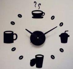 Toprate(TM) Black Cup Coffee Tea Round Modern Stylish Wall Clock Mirror Wall Clock Fashion Modern Design Removable DIY Acrylic 3D Mirror Wall Decal Wall Sticker Decoration
