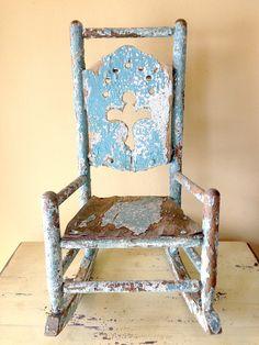 Vintage Chair Doll Rocker Antique Blue