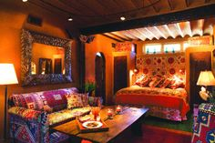 Colorful and luxurious, the hotel features some gorgeous interior design that combines Santa Fe's Southwestern flair with the exotic look of imported goods from other parts of the world. Details are where this place shines!