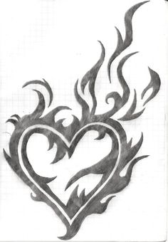 Tribal Heart by vectordiva on DeviantArt heart by Dark Art Drawings, Art Drawings Sketches Simple, Pencil Art Drawings, Love Drawings, Easy Drawings, Tattoo Drawings, Tribal Drawings, Tattoo Pics, Tribal Heart