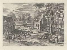 Julius Goltzius   Juni, Julius Goltzius, Gillis Mostaert (I), Claes Jansz. Visscher (II), c. 1560 - 1595   Zomerlandschap met zomertaferelen. Juni is de scheermaand. In het midden een boerderij. Boeren wassen en scheren de schapen. Deel van een serie van de twaalf maanden, waarbij elke maand wordt afgebeeld met de voor haar typerende menselijke activiteiten en haar klimatologische kenmerken.