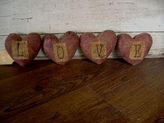 Primitive Valentines L O V E Heart Bowl Fillers.