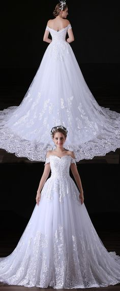 In Stock Gorgeous Tulle Off-the-shoulder Neckline Floor-length A-line Wedding Dresses With Beaded Lace Appliques