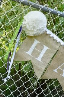 Use freezer paper for a template; iron it onto burlap & paint letters with acrylic paint. Carefully peel the freezer paper stencil off the burlap.