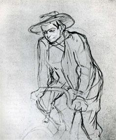 Henri de Toulouse-Lautrec - Aristide Bruant on His Bicycle: 1892 : Post-Impressionism