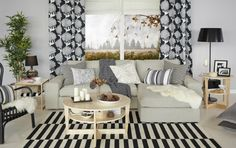 Refresh for Spring with assorted graphic textiles in shades of black,white and gray. The KAJSAMIA modern Scandinavian curtains make a strong statement for your living room.