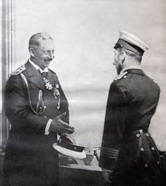 Nicholas and his cousin, Kaiser Wilhelm II, having a pleasant meeting in early 1914.  A few months later they would be at war with each other.