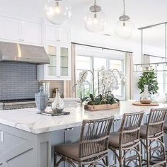 White Kitchen with Gray Glass Backsplash, Cottage, Kitchen