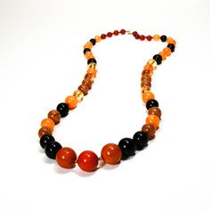 Bold Bubble Gum Lucite Bead Necklace Brown Black Orange Long Length    Large Millimeter Graduated Length  Safari Sunset Colors  Spaced with