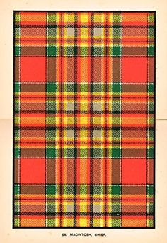 "Johnston's Scottish Tartans - ""MACINTOSH, CHIEF"" - Chromolithograph - c1899"
