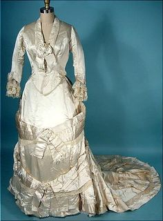1880 M.A. CONNELLY, 7 East 16th Street, New York Ivory Silk Satin Bustle Wedding Gown Ensemble