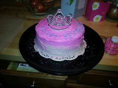 princess birthday cake : two chocolate layers, one vanilla layer, & home made vanilla frosting