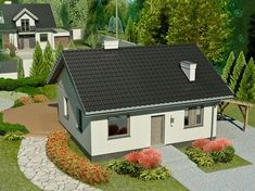 DOM.PL™ - Projekt domu Dom przy Topolowej 2 CE - DOM EB3-69 - gotowy projekt domu Rose Garden Design, Simple House, My House, Beautiful Homes, House Plans, Sweet Home, New Homes, Outdoor Structures, House Design