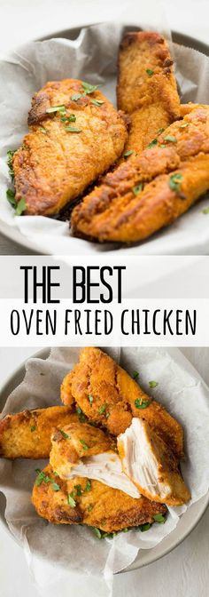 Easy oven fried chicken that tastes just like KFC but without all the grease! One of our FAVORITE meals!