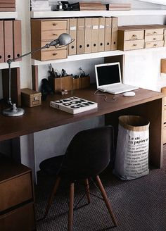 Eco-friendly Kraft office storage. Love the look of this office, too.