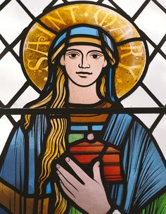 Detail of a stained glass window by Benjamin Finn in the church of St Osyth, Essex, UK. Mary of Bethany
