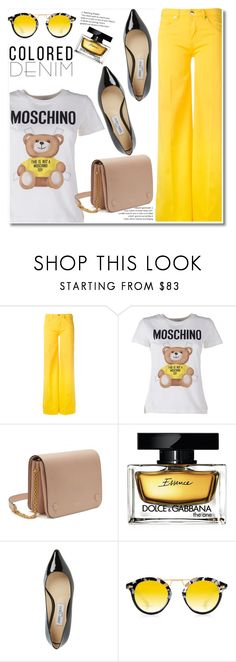 """""""Spring Trend: Colored Denim"""" by paculi ❤ liked on Polyvore featuring Love Moschino, Moschino, Mulberry, Dolce&Gabbana, Jimmy Choo, Krewe and coloredjeans"""