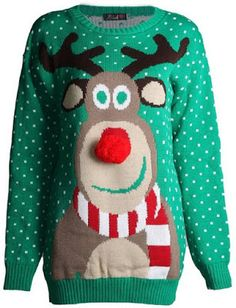 Unisex Men Women Ladies XMAS Novelty Reindeer 3D Nose Scarf Pom Pom Jumper
