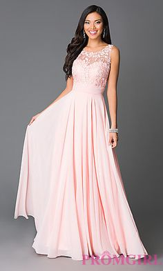 Long Open Back Lace Bodice Dress at PromGirl.com