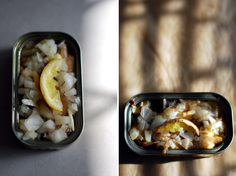 Post and recipe for Food Bloggers Against Hunger: Sardines with onion, lemon and garlic, grilled in can #takeyourplace