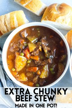 This Classic One-Pot Chunky Beef Stew makes a perfect Fall or Winter dinner. Loaded with hearty vegetables and tender beef chunks simmered in a delicious beef broth. #beef #stew #beefstew #easydinner #dutchoven #easyrecipe Best Soup Recipes, Chili Recipes, Salad Recipes, Dinner Recipes, Healthy Recipes, One Pot Meals, Main Meals, Best Comfort Food, Comfort Foods