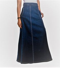 77dc06a064 Dark wash long denim skirt with stretch for a great fit. UK Sizes 8-