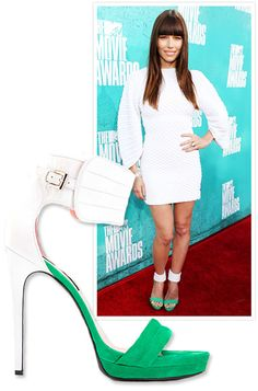 #JessicaBiel finished her snow white mini-dress with a pop of lime, courtesy of #BarbaraBui's color-block sandals. http://news.instyle.com/photo-gallery/?postgallery=115689#